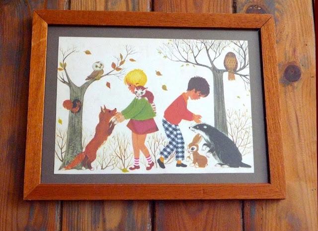 cadre vintage illustration enfant