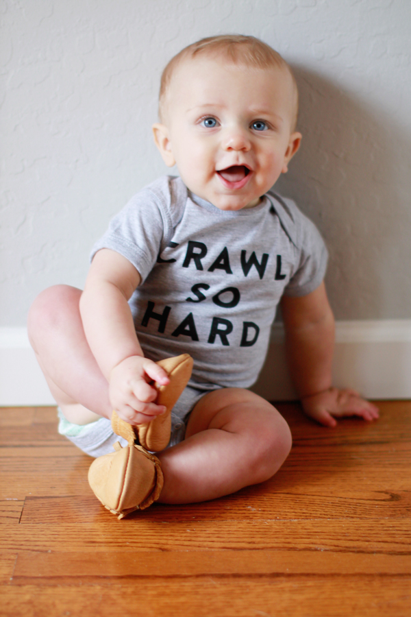 Crawl So Hard onesie by The Wittle Co. & Freshly Picked mocs