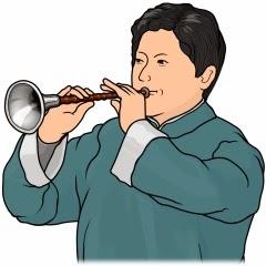中国のスオナ演奏者のイラスト