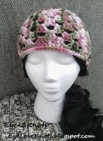 Crochet Granny Square Beanie Pattern : EyeLoveKnots: Crochet Adult Granny Square Beanie in Pink ...