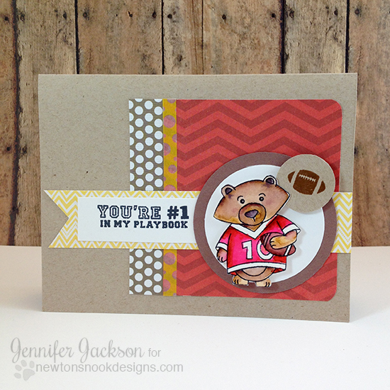 Football card by Jennifer Jackson | Touchdown Tails stamp set by Newton's Nook Designs #football #gobadgers