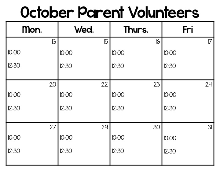 parent volunteer calendar