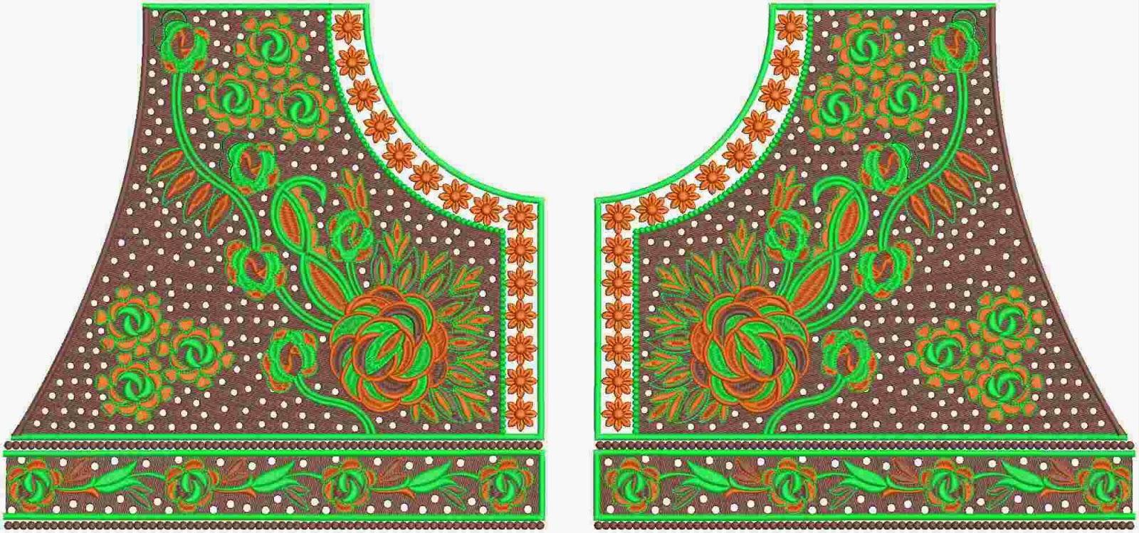 Groen kleur borduurwerk nek ontwerp