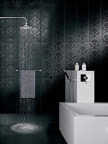 Contemporary black and white bathroom ideas designs for Black tile bathroom designs