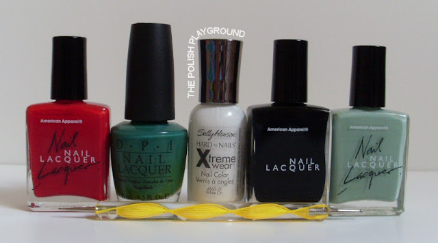 American Apparel, OPI, Sally Hansen, dotting tool