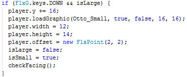 Actionscript 3 code to adjust Otto's height while shrinking.