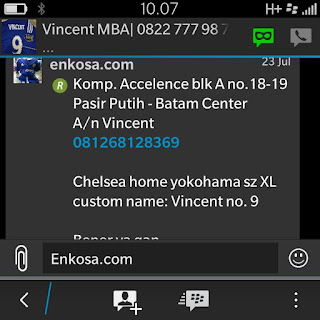 Konfirmasi alamat lengkap dan detail pesanan jersey Vincent oleh enkosa sport lokasi di jakarta pasar tanah abang jakarta pusat
