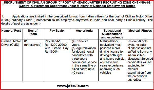 Civilian Motor Driver-CMD Job Opening in Army HQ Zone Chennai (Tamil Nadu) June 2015