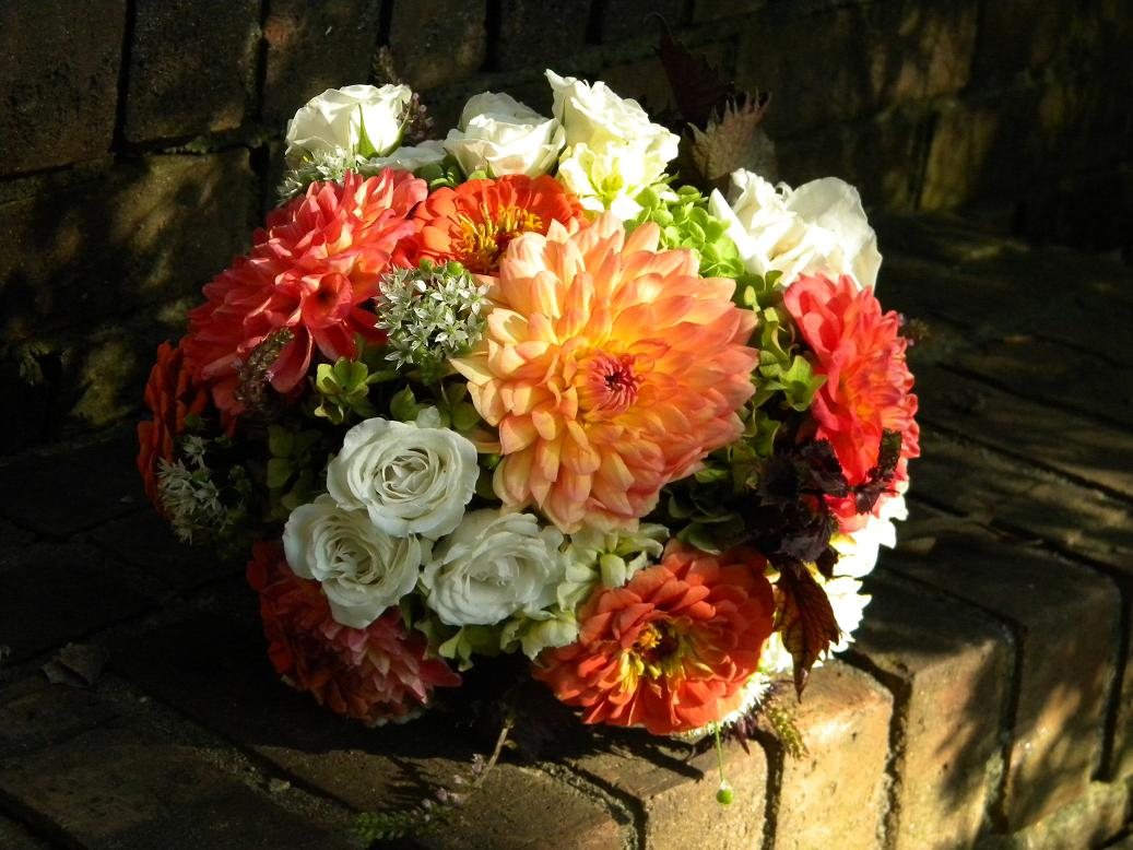 Wedding Flowers from Springwell Fall Bouquets of Dahlias