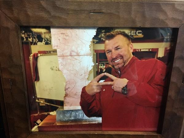 Bret Bielema teases Golden Boot trophy appearance during LSU-Arkansas men's basketball game.