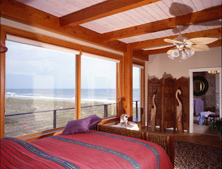 oceanfront timber frame bedroom
