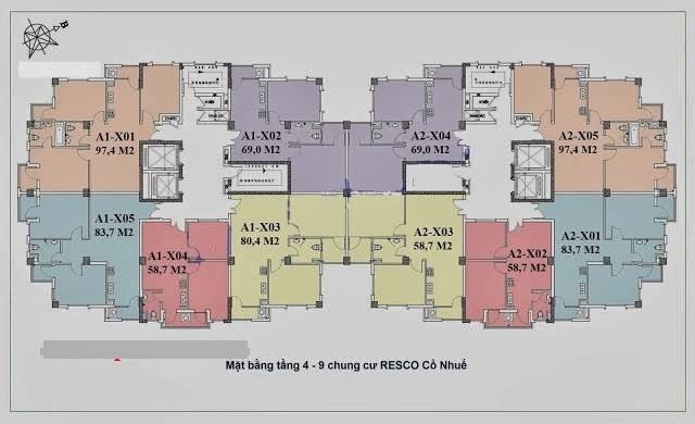 mô hình mặt sàn tòa A chung cư resco cổ nhuế