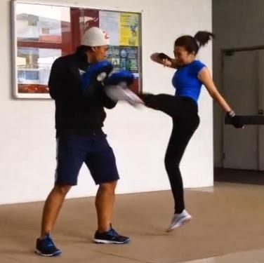 Rambo Malaysia: Gambar aksi Neelofa main kickboxing buat