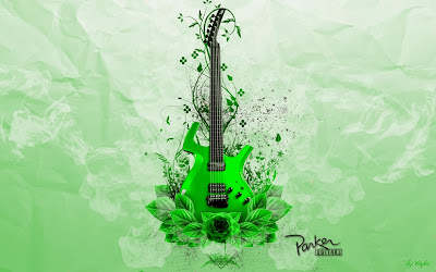 Green guitar music wallpaper