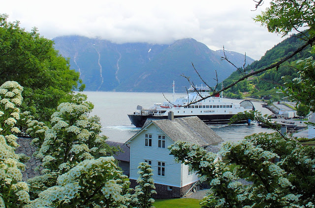 The view of Utne Harbor from the Hardanger Folk Museum.