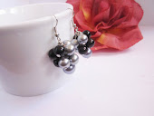 Black and Silver Grey Cluster Pearl Earrings, Bridesmaid Gift