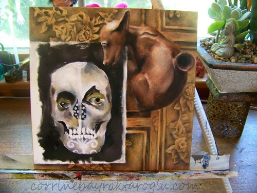 still life painting on wood of coffee table, sketchbook and dog