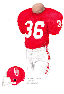 1969 University of Oklahoma Sooners football uniform original art for sale