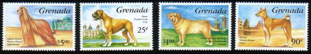 1993年グレナダ アフガン・ハウンド ボクサー ラブラドール・レトリーバー バセンジーの切手