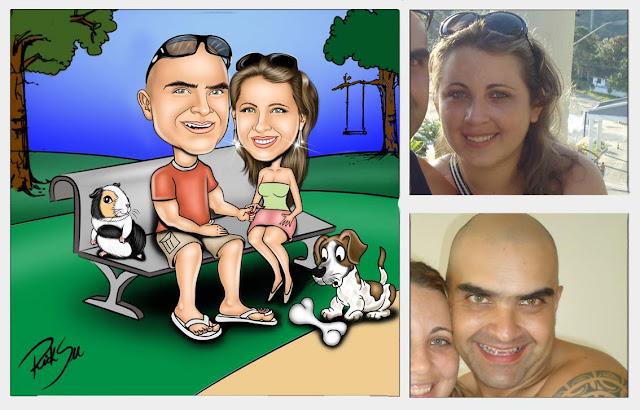caricatura na praça com animais de estimação porquinho da  india e cachorro !!