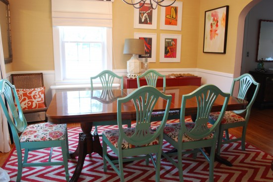 b home decor trend painted dining room chairs
