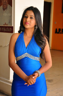 Actress Mi Rathod  Pictures in Blue Long Dress at Green Signal Pre Release Press Meet  33