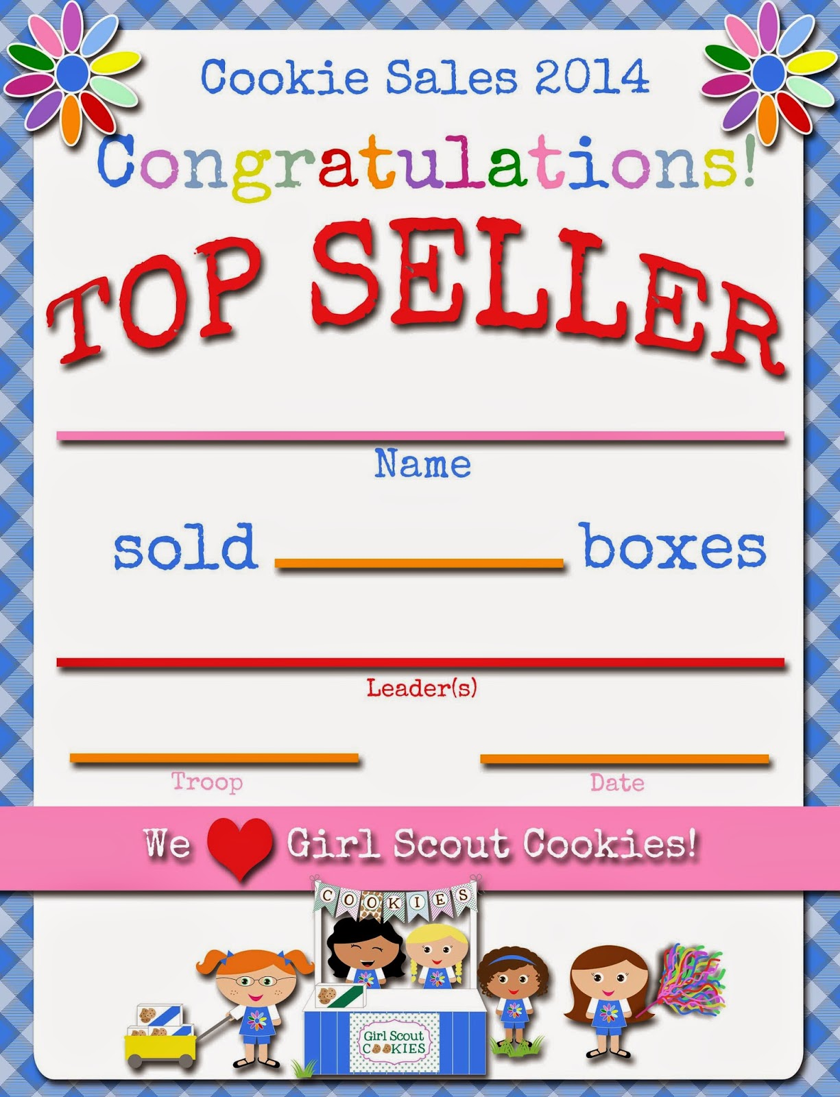 top seller certificate templates - fashionable moms girl scouts daisies cookie top seller