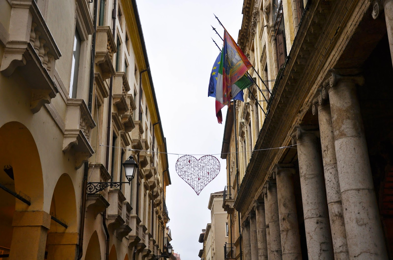 red heart St. Valentine's Vicenza's high street Corso Palladio