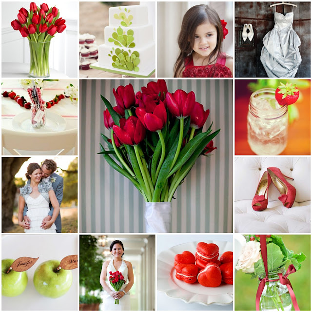red and green summer wedding palette