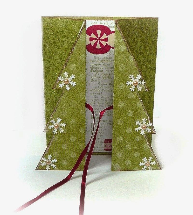 kartka na święta w formie choinki