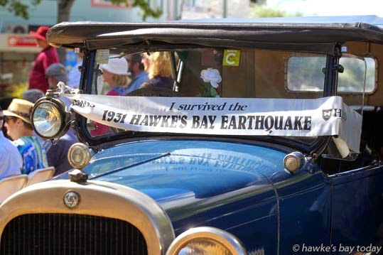 A vintage car which survived the 1931 Hawke's Bay Earthquake - 1931 Hawke's Bay Earthquake Commemoration in the Hastings CBD, Hastings. photograph