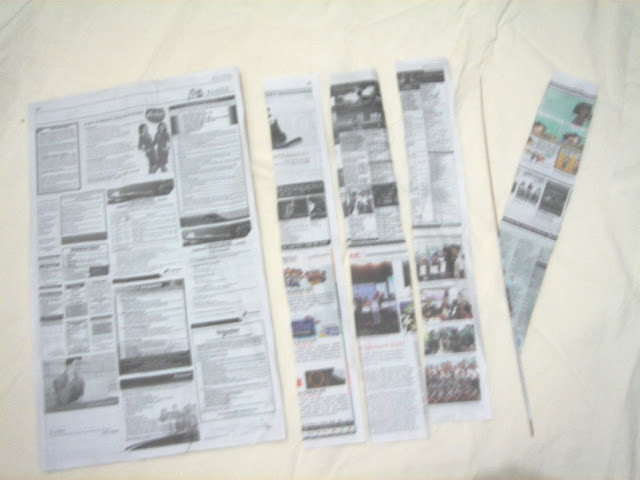 proses melinting kreasi kertas koran
