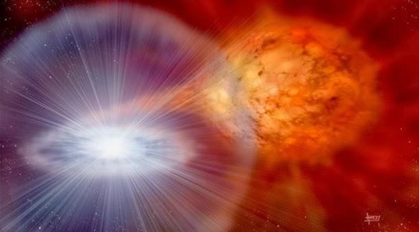A estrela que está a ser comida por um buraco negro