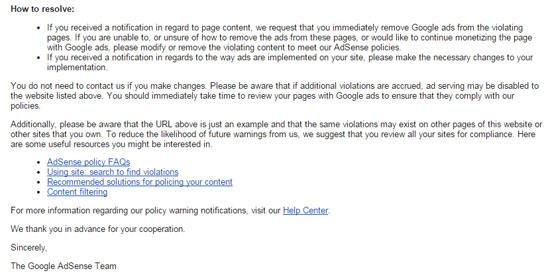 Contoh Email Nota Amaran Google Adsense