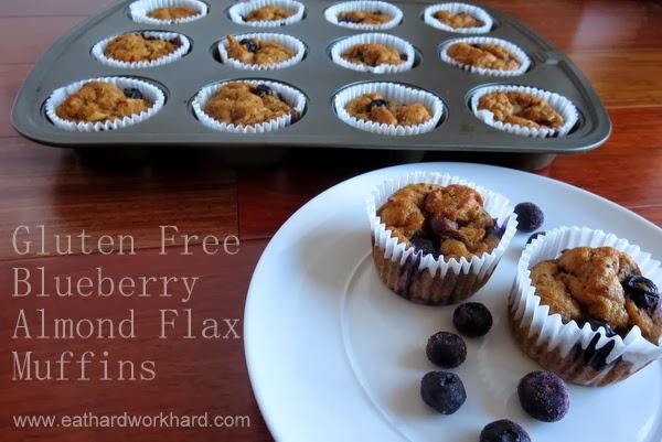 Gluten Free Blueberry Almond Flax Muffins