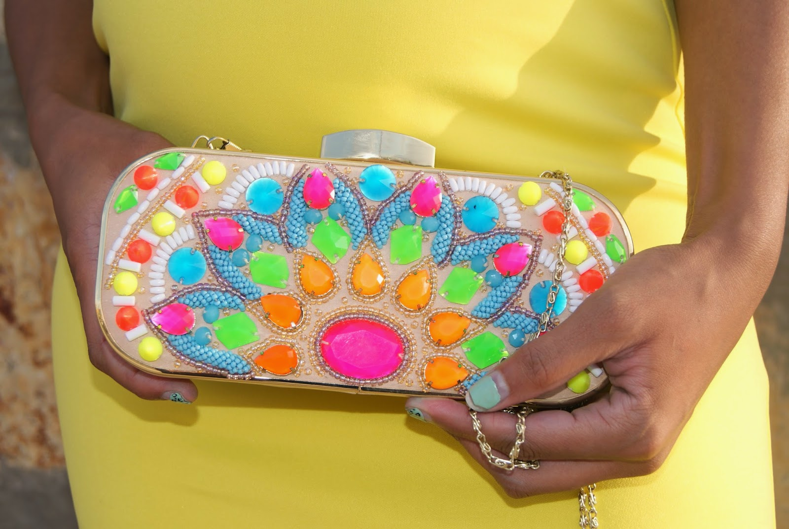 neon clutch, jeweled clutch, allthingsslim,