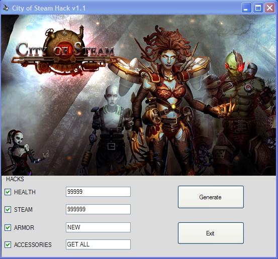 City Of Steam Hack v1.1 Health Steam Armor Accessories Cheats 2013