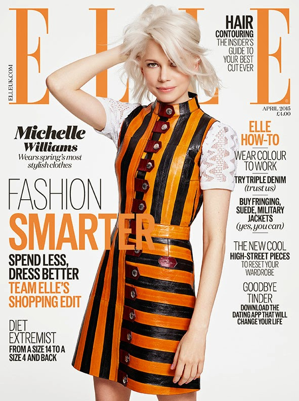 Actress@ Michelle Williams by Kerry Hallihan for Elle UK, April 2015