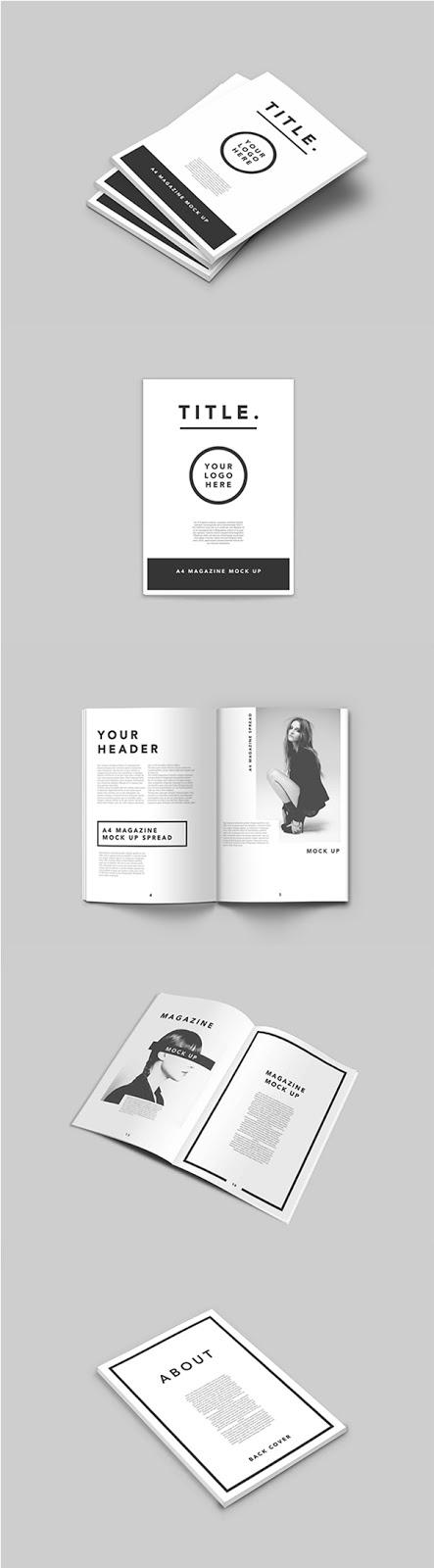 Download Gratis Mockup Majalah, Brosur, Buku, Cover - A4 Magazine Mock Up
