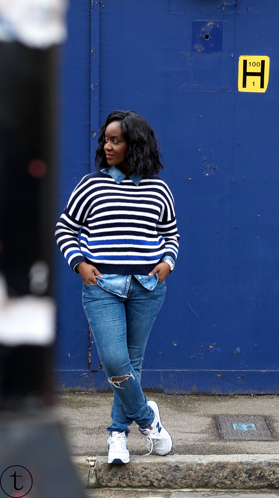 outfit post wearing denim shirt and new balance sneakers it's true blog