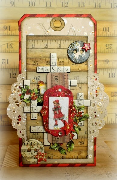 Merry tag by Romy Veul for BoBunny featuring Christmas Collage 2