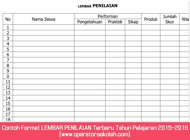 Contoh Format LEMBAR PENILAIAN Terbaru Tahun Pelajaran 2015-2016 [www.operatorsekolah.com]