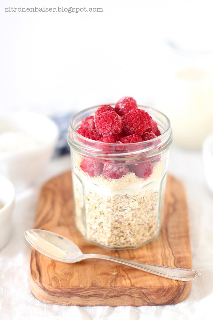 Frühstück Rezept Haferflockenporridge mit Himbeeren Zitronenbaiser Blog