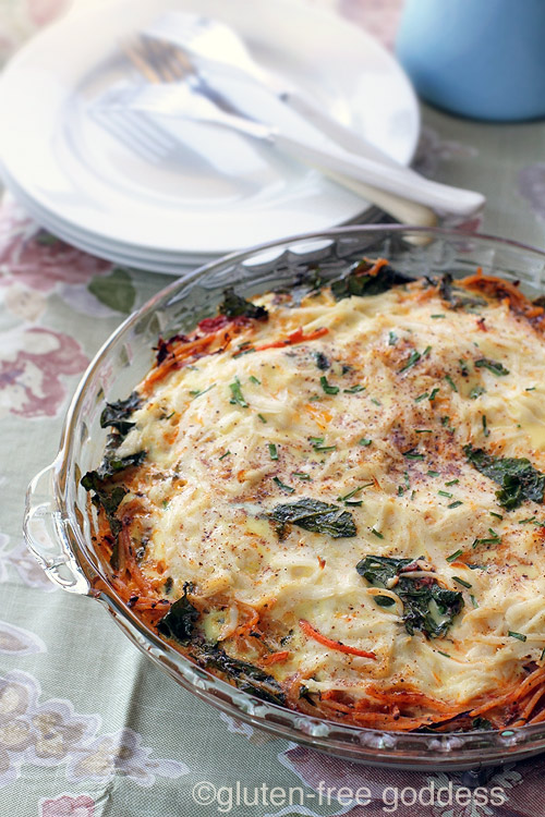 Leftover brown rice pasta makes a delicious Gluten-Free Pasta Frittata with Kale (Dairy-Free)
