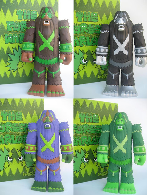 "The Forest Warlord Vinyl Figure by Bigfoot One – Original Brown Edition Forest Warlord, ""Hairy Metal"" Black and Silver Edition, ""Grapeskunkape"" Purple Edition & ""Bigbud"" Green Edition"