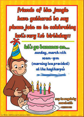Curious george do it yourself parties of george with the cake and glue it onto another page with your poem and details to make it look exactly the way you want and then color copy it bookmarktalkfo Images