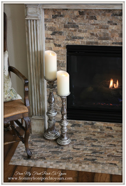 Simple Nautical Fireplace Mantel Display-Luminara Candles-Candle Sticks- BalsamHill From My Front Porch To Yours