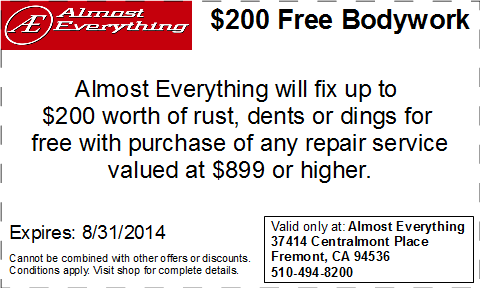 Coupon Almost Everything $200 Free Bodywork Discount August 2014