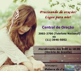 Ligue para nós ou envie e-mail para: oracaopalavradodia@gmail.com