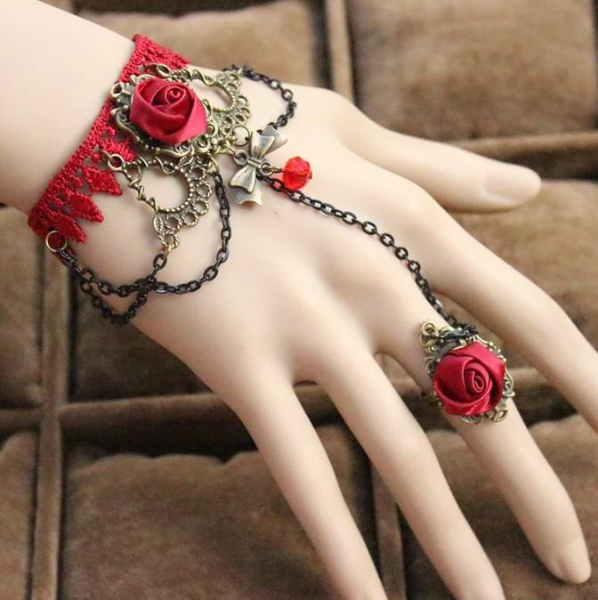 stunning ladies  hot red floral braclet with chaing  connecting same style ring